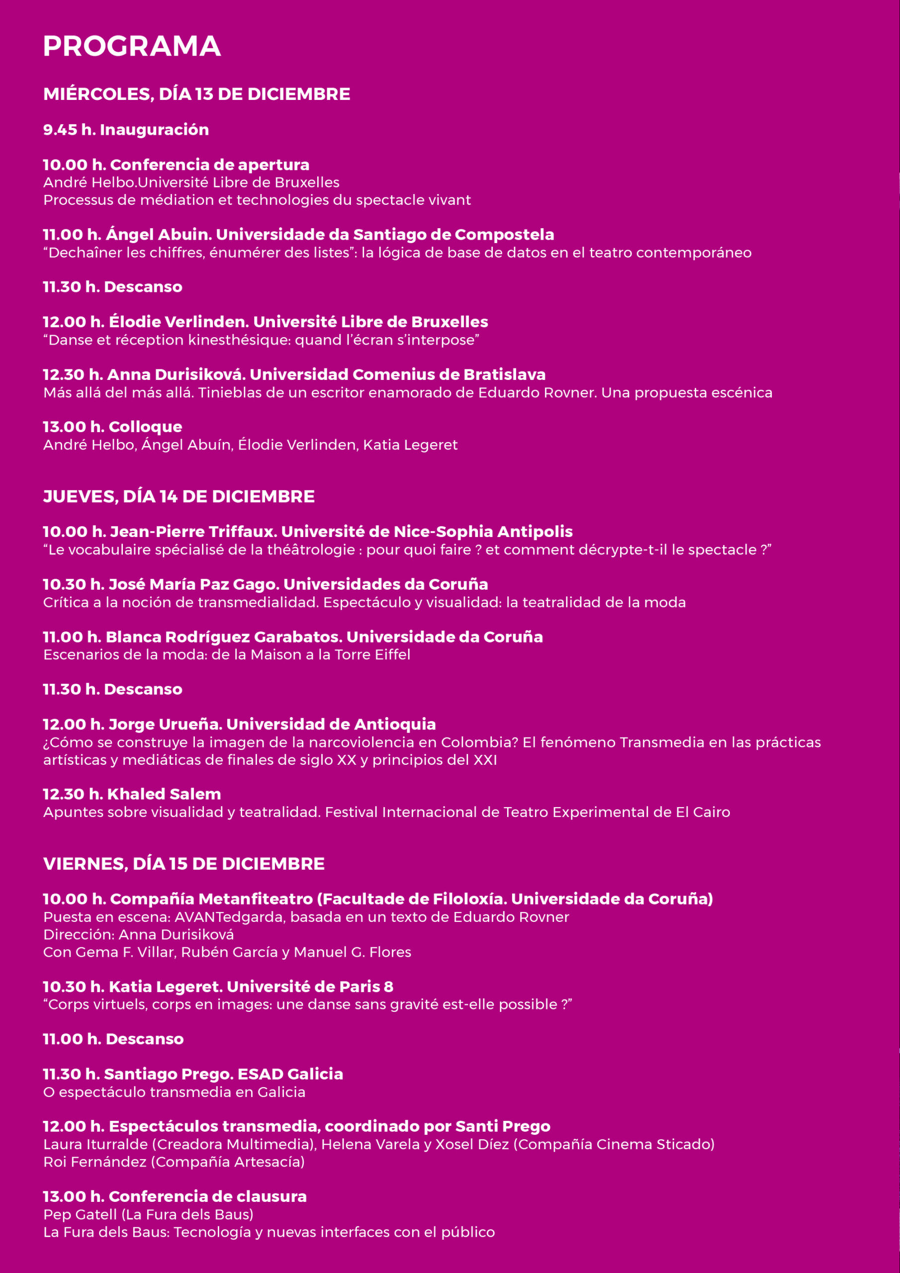 LitecomColoquio Internacional Espectáculo y Tecnologías de la Imagen - Programa